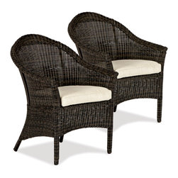Thos. Baker - Cottage Wicker Outdoor Outdoor Armchair, Set of 2 - The cottage collection features premium, fade-resistant nDuraA all-weather wicker hand-woven over powder-coated aluminum frames. Generously scaled seating and accessories come in an elegant and timeless design that will complement any garden or patio space.Chairs feature high backs, wide armrests and a distinctive ball foot. Coffee and end tables include easy-to-clean fitted tempered-glass tops. Plush cushion sets are covered in premium Sunbrella outdoor fabricsSignature or premium cushion sales are final and ship in 2-3 weeks.