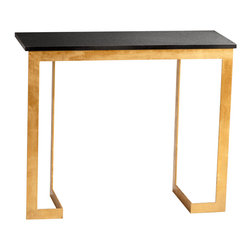 """Cyan Design Dante Console Table in Gold & Black Finish - The Cyan Design Dante Console Table, with a Gold and Black finish, will add a Transitional style to any home's decor! Composed of Iron and Granite material. Dimensions: 32 1/2"""" High, 14 1/4"""" Wide, 37 3/4"""" Long."""