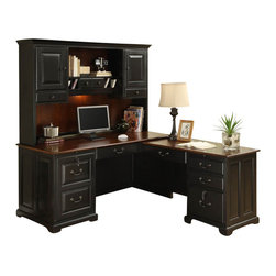 Riverside Furniture - Riverside Furniture Bridgeport Workstation in Burnished Cherry - Riverside Furniture - Home Office Desks - 71307131KIT - A celebration of the classic office style loaded with function for today's home office. Use each piece alone or as a part of a coordinated home office collection.