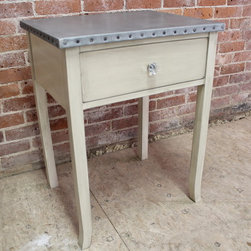 Zinc Top Nightstand with Drawer -