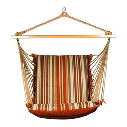 Algoma Net Company, Div. of Gleason Co - Soft Comfort Hanging Chair - Brown - Enjoy all that summer has to offer from this comfortable cushioned hanging chair. Made with two different patterns of weather resistant fabric, it features foam-filled fabric on the chair and mildew-resistant polyester rope cord. Note - stand sold separately. Made in the USA.