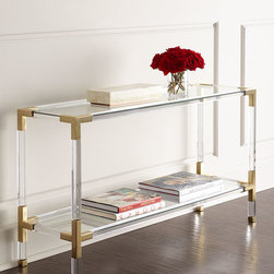 """Jonathan Adler - Jacques Console - MIRROR/BRASS - Jonathan AdlerJacques ConsoleDetailsLucite frame with brass hardware insets.50""""W x 16""""D x 28""""T.Imported.Boxed weight approximately 376 lbs. Please note that this item may require additional delivery and processing charges.Designer About Jonathan Adler:While the collection now includes everything from furniture to frames it all started in 1994 with Jonathan Adler's first love: pottery. He was introduced to the art at summer camp when he was 12. With joyful colors lighthearted patterns and whimsical flair Adler's aesthetic reflects his belief that your home should make you happy. His most ambitious projects include designing The Parker Palm Springs Hotel and a real-life Malibu dream house to commemorate Barbie's 50th birthday."""