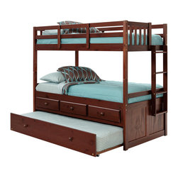 Chelsea Home Furniture - Chelsea Home Twin Over Twin Bunk Bed with Trundle and Storage in Dark - Providing home elegance in upholstery products such as recliners, stationary upholstery, leather, and accent furniture including chairs, chaises, and benches is the most important part of Chelsea Home Furniture's operations. Bringing high quality, classic and traditional designs that remain fresh for generations to customers' homes is no burden, but a love for hospitality and home beauty. The majority of Chelsea Home Furniture's products are made in the USA, while all are sought after throughout the industry and will remain a staple in home furnishings.