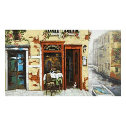 Yosemite Home Decor - Venetian Canal Art - Charming acrylic painting of a rustic, Venetian trattoria with a green, outdoor table and chairs. The pale gold, stucco walls are painted with heavy texture and accented by brick red trim on the door and windows. completing the relaxing moment, flowers spill out of window boxes and a boat floats in the canal just steps away.