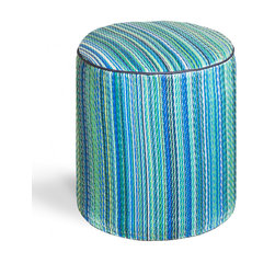 Fab Habitat - Cancun - Turquoise & Moss Green Pouf - Playful colors really pop on this striped, eco-chic pouf! With this artisan made, easy to clean pouf in your home, you'll always have a modern seating choice, foot stool, or tiny table on offer. This pouf is handmade from recycled materials, and is available in a variety of vibrant color combinations.