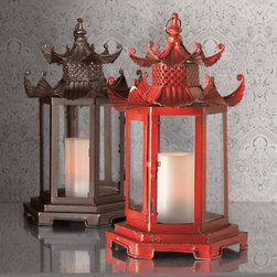 Pagoda Candle Lanterns - A pair of these red pagoda lanterns would be stunning on the dining room table or sideboard. Use battery-operated pillar candles for a safe and mess-free alternative to real candles.