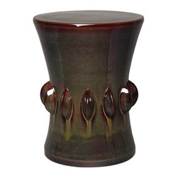Green Kelp Jewel Garden Stool - Jewel garden stool with kelp green glaze and dark red drizzle accent.