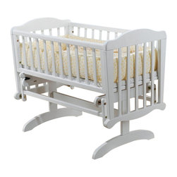 Sorelle - Sorelle Dondola Gliding Cradle with Mattress in White - Sorelle - Baby Cradles - 85W - Sorelle cribs changing tables and more are custom made with a design that flawlessly integrates form and function. Elegant yet simple Sorelle furniture is at home in any decor from traditional to contemporary. Excellent cradle glides baby to sleep.