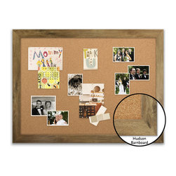 "Corkboard - 44"" x 32"" Framed Cork Board, Hudson Barnboard - Dimensions include frame."