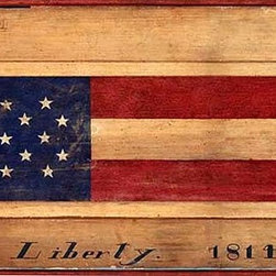 Red Horse Signs - Vintage Flag Sign Rustic Nostalgic Signs -USA Flag Folk Art Sign - Vintage  Flag  Sign  -  Rustic  Nostalgic  Signs  -USA  Flag  Folk  Art  Sign    This  vintage  flag  sign  shows  an  illustration  of  an  American  Flag  and  reads,  Liberty  1814.  A  beautiful  replica  of  America's  early  heritage,  this  rustic  wood  sign  is  painted  directly  onto  distressed  wood,  giving  it  an  authentic  look  and  texture.  Please  allow  3  weeks  for  shipping.  Customizable  text.    Product  Specifications:        Folk  Art  sign    Finished  size:  14x26    Printed  directly  to  distressed  wood