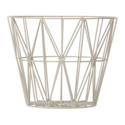 Inova Team - Modern Basket, Grey, Medium: 19.7 Dia X 15.7 H - Need a basket for firewood, blankets, cushions, yarn, magazines, toys or laundry? You name it - these multifunctional wire baskets will keep it. You can even use our smoked oak tops and turn the baskets into tables. You can find the tops here.
