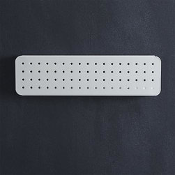 """three by three® Peggy White 5""""x18"""" Board - Hook it, hang it, have it all in view, all at your fingertips. Carefully crafted of heavy-duty iron, our system of white perforated boards and accessories helps you achieve meticulous order in the kitchen, office, laundry room or any other space that needs tidying. Use just one board or create a custom wall of organization with multiple boards outfitted with coordinating hooks, bins and file folders (sold separately). Each board easily mounts horizontally or vertically to ensure all of your tools and gadgets are neatly organized at your ready."""