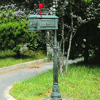 Deluxe Cast Aluminum Mailbox and Post Set - Verdigris - The Deluxe Cast Aluminum Mailbox and Post Set will be a great first impression for guests arriving to your traditionally styled home. Customize this cast aluminum mail box with your house numbers or name on the included address plaque. Numbers not included.