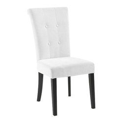 Armen Living - Armen Living Tuxford Tufted Fabric Side Chair in Off-White - Armen Living - Dining Chairs - LC3142SIMFWH - Very clean contemporary high back fabric side chair with tufted button back. Armen Living is the quintessential modern-day furniture designer and manufacturer. With flexibility and speed to market Armen Living exceeds the customers expectations at every level of interaction. Armen Living not only delivers sensational products of exceptional quality but also offers extraordinarily powerful reliability and capability only limited by the imagination. Our client relationships are fully supported and sustained by a stellar name legendary history and enduring reputation. The groundbreaking new Armen Living line represents a refreshingly innovative creative collaboration with top designers in the home furnishings industry. The result is a uniquely modern collection gorgeously enhanced by sophisticated retro aesthetics. Armen Living celebrates bold individuality vibrant youthfulness sensual refinement and expert craftsmanship at fiscally sensible price points. Each piece conveys pleasure and exudes self expression while resonating with the contemporary chic lifestyle.