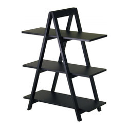 Winsome Wood - Winsome Wood A-Frame 3-Tier Shelf with Black Finish X-03102 - A unique shelving A-Frame shelf features an exciting, modern design, these shelves are ideal for storing and displaying books and more.  The shelf will provide your home with a great practical accent piece.  Sold wood frame, MDF Shelves, Black Finish  Assembly Required.