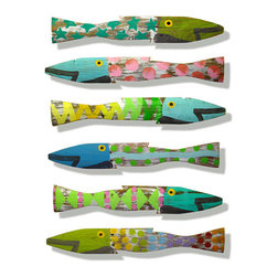 Set of Six Picket Fence Fish - I'm not usually into going too beachy-beachy when striving for coastal style, but I cannot resist these darling folk art fish. they are painted on recycled fence posts and each one is unique. They are just so cheerful and fun I can imagine them in all different styles of houses.