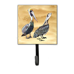 Caroline's Treasures - Bird - Pelican Leash Holder Or Key Hook - The Single Hook Leash Holder measures 4.25 inches wide by 7 inches high. The tile is made from a hardhoard and is mounted to a metal rectangle. The hook hangs down from the metal plate in the back and is about 2 1/2 inches from the base. The hook opens about 1 inch. A hanger is attached to the metal plate and is about 1 1/2 inches long. Lots of room to hang up using a screw or paneling nail. Great for the home or office to hold keys, leashes or just about anything.