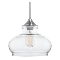 Linea di Liara - Linea di Liara Ariella Ovale Clear Glass Stem Hung Pendant Lamp, LL-P322 - Ariella pendants provide warm, comfortable illumination with their transitional design. The Ovale's versatility allows it to be used in kitchens, dining areas, bathrooms, bars, and more. Brushed nickel finish.