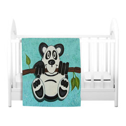 DiaNoche Designs - Throw Blanket Fleece - Panda Bear - Original Artwork printed to an ultra soft fleece Blanket for a unique look and feel of your living room couch or bedroom space.  DiaNoche Designs uses images from artists all over the world to create Illuminated art, Canvas Art, Sheets, Pillows, Duvets, Blankets and many other items that you can print to.  Every purchase supports an artist!