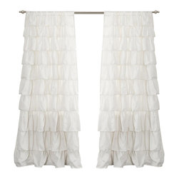 "Lush Decor - Ruffle Ivory Window Curtain - Includes: 1 Panel. Color: Ivory. Panel: 50""W x 84""H. No lining. 3"" Rod Pocket. Machine Wash. . Fabric Content: 100% PolyesterTurn any room from ordinary to incredibly special when you add our Ruffle Window curtains. Beautifully flowing layers of brushed poly with hand constructed ruffle details. So feminine, so pretty and so flexible. they work anywhere in your home."