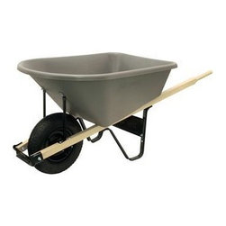 Ames - Ames 6 Cubic Foot Poly Contractor Wheelbarrow, Gray and Black (CP6) - Ames CP6 6 Cubic Foot Poly Contractor Wheelbarrow, Gray and Black