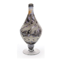 Go Home - Decor Vase with Antiqued Smokey Etche - Decor Vase perfect accent for any decor.It will look stunning in traditional or contemporary settings.Sure it will enhance the beauty of your home decor.Amazingly crafted with glass and has antiqued smokey etched finish.