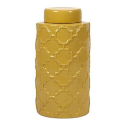 "IMAX - Essentials Mellow Yellow Large Canister - With it's bright color and embossed quatrefoil pattern, this large lidded ceramic canister is both a fun and functional part of the Mellow Yellow collection from Essentials by Connie Post. Item Dimensions: (11.75""h x 6""w x 6"")"