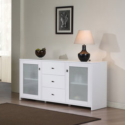 None - Benson Buffet - Add simple style and function to your living space with this three-drawer white buffet by Benson. This buffet is made of rubber wood for durability and includes three drawers,two adjustable shelves,two glass doors,and a matte metal handle finish.