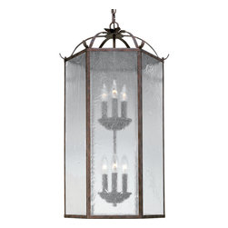 Progress Lighting - Progress Lighting P3672-33 Cobblestone Oakmont Six-Light Foyer Pendant with Clea - Progress Lighting P3672-33 6 Light Hall Foyer Light Fixture This Progress Lighting product is illuminated by six 60-watt clear incandescent candelabra