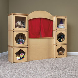 RooMeez - RooMeez Puppet Theater Multicolor - JC294 - Shop for Puppets from Hayneedle.com! Beautiful and well-made the RooMeez Puppet Theater is sure to delight any child. Crafted from wood in a gorgeous natural finish this puppet theater comes with six single pods with two square two pentagon and two circle cutout doors in white and maple. The theater kit has two red curtains to maximize the fun and the entire kit attaches easily to the pods. The single pods are perfect for storing and displaying the puppets and also keeps everything contained and organized.About Jonti-CraftFamily-owned and operated out of Wabasso Minn. Jonti-Craft is a leading provider of quality furniture for the early learning market. They offer a wide selection of creatively designed products in both wood and laminate materials. Their products are packed with features that make them safe functional and affordable. Jonti-Craft products are built using the strongest construction techniques available to ensure that your furniture purchase will last a lifetime.
