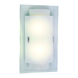 Trans Globe Lighting - Trans Globe Lighting PL-MDN-843 GU 24 Double Rectangles Wall SconceEnergy Effici - A new age wall sconce in a sleek trendy design. Slim frosted glass paired and stacked on top a nickel wall plate.  Polished chrome accents.