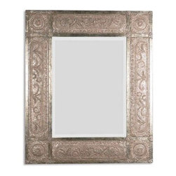 Neutral Is In: What's Hot in Custom Upholstery - Mirrors with beautiful filigree patterns in an antiqued silver are a great neutral addition.
