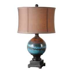 "Silver Nest - Chase Table Lamp - 29"" High - Glossy blue ceramic with charcoal gray and rust drips accented with matte black details. The round modified drum shade is a chocolate bronze linen fabric with light blue trim."