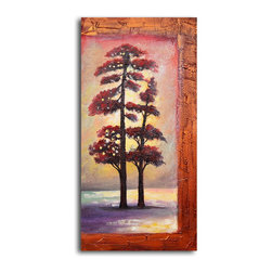"""My Art Outlet - Hand Painted """"Dual trees in snow"""" Oil Painting - Size: 20"""" x 40"""" (20"""" x 40""""). Enjoy a 100% Hand Painted Wall Art made with oil paints on canvas stretched over a 1"""" thick wooden frame. The painting is gallery wrapped and ready to hang out of the box. A very stylish addition to any room that is sure to get the attention of guests."""
