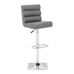 ZUO MODERN - Nitro Barstool Gray - With its padded rolls and adjustable height, the Nitro barstool looks funky as it is functional. It has a chrome base with a footrest and leatherette wrapped seat.