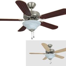 "Builder's Collection - Satin Nickel 42"" Ceiling Fan w/ Light Kit - Motor Finish: Satin Nickel"