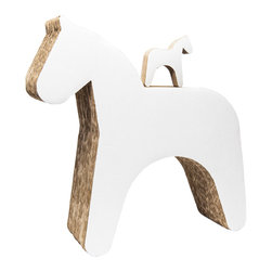 OOTS! - Trojan Horse / Stool Cardboard Toy - No hidden agenda here. This sturdy Trojan horse, constructed of layers of recycled cardboard, is perfect as a stool and as a companion. When you move it, a delightful noise chimes from inside. And just to add another layer of whimsy, the horse comes with a tiny Trojan baby.