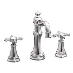 Moen - Moen TS42114 Two-Handle High Arc Bathroom Faucet - The elegant, traditional design details and distinctive finishing touches present a sens of unique luxury in the Weymouth collection. Beautiful accents include porcelain inlays that feature Euro-influenced decorative script and signature styling elements.