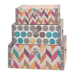 iMax - Confetti Boxes, Set of 3 - Celebrate good times and happy memories with a trio of fabric-covered boxes punched up with polka dots, colorful stripes and silver clasps.