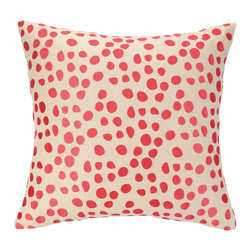 "Peking Handicraft - Pebble Parade Coral Embroidered Pillow - The Peking Pebble Parade pillow's energetic vibe exudes seaside style. With eclectic charm, this decorative accessory pops with coral pink circles across cream linen.  18""W x 18""H; 100% ramie; Dry clean only"