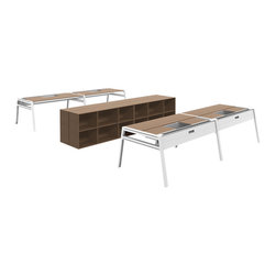 Turnstone - Bivi Office for Four - The Bivi Office for Four is a setting of four desks, two side by side and two facing them. Modular, this setting can be broken up into two desks for two people. MDF desktops and powder-coated steel legs and hardware.
