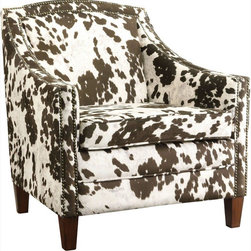 Coaster - Accent Chair, Brown/White Cow Pattern - Add a plush and unique accent chair to your home with this brown and white cow patterned chair. Featuring decorative nailhead trim, wood legs, curved arms and padded seating.