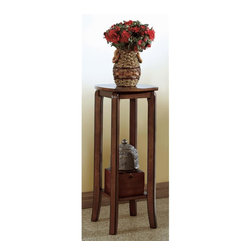 Monarch Specialties - Plant Stand in Walnut Finish - Solid top. Made from solid hardwood and veneer. 12 in. W x 12 in. D x 28 in. H (7 lbs.)This simple transitional plant stand will not only look great in your vestibule, but can also be an ideal spot to place your keys and purse after a long day at work. With its smooth lines and square legs, this walnut finished piece, constructed in solid hardwoods and veneer, will blend into any decor.