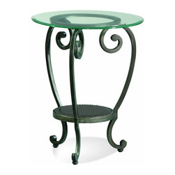 Bassett Mirror - Glass Top Chairside Table w Storage & Metal B - 1 Shelf. Glass top. Metal base. 21 in. Dia. x 26 in. H