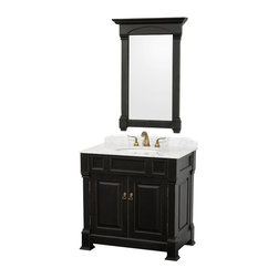Wyndham Collection - 36 in. Vanity with Single Sink - Includes matching mirror, natural stone counter and backsplash with porcelain sinks. Faucet not included. Beautiful transitional styling. White under mount sink. White Carrera marble top. Floor-standing linen tower. Hand carved and stained cabinet. Mirror glass thickness: 1 in.. 8 in. widespread three hole faucet mount. Plenty of storage space. Engineered to prevent warping and last a lifetime. Highly water-resistant low V.O.C. finish. Twelve stage wood preparation, sanding, painting and hand-finishing process. Fully extending side-mount drawer slides. Concealed door hinges. Two doors. Metal hardware with antique bronze finish. Warranty: Two years. Made from environmentally friendly, zero emissions solid oak hardwood. Antique black finish. Vanity: 36 in. W x 23 in. D x 35 in. H. Mirror: 28 in. L x 41 in. H (31 lbs.). Cabinet weight: 107 lbs.. Counter weight: 63 lbs.. Sink weight: 13 lbs.. Care InstructionsA new edition to the Wyndham Collection, the beautiful Andover bathroom series represents an updated take on traditional styling. The Andover is a keystone piece, with strong, classic lines and an attention to detail.