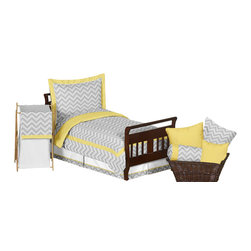 Sweet Jojo Designs - Zig Zag Yellow and Gray 5-Piece Toddler Bedding Set by Sweet Jojo Designs - The  toddler bedding by Sweet Jojo Designs includes: comforter, sham, pillowcase, fitted sheet and a flat sheet.