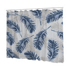 Uneekee - Uneekee Blue Feathers Shower Curtain - Your shower will start singing to you and thanking you for such a glorious burst of design as you start your day!  Full printing on the front and white on the back.  Buttonhole openings for shower rings.