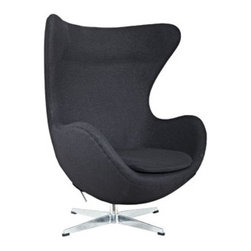 "LexMod - Glove Wool Lounge Chair in Black - Glove Wool Lounge Chair in Black - The Glove Chair provides evidence of movement in design to adapt more organic forms into our living spaces. Designed to remind us of the natural world, this chair provides sheer comfort and relaxation. Get back to nature with the Glove Chair. Set Includes: One - Glove Chair in Woolen Mix Upholstered in Wool, Aluminum Rotating Base, Re-enforced Fiberglass Frame Overall Product Dimensions: 31.5""L x 35""W x 42.5""H Seat Height: 16""H Armrest Height: 27""H - Mid Century Modern Furniture."