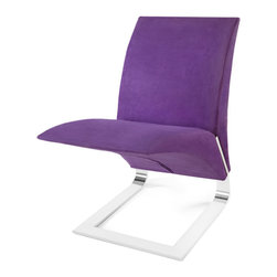 Zuri Furniture - Purple Microfiber Bouncy Dining Chair - The name says it all. The whimsical Bouncy chair�s uniform construction allows it to bounce up and down as you sit in it. Destined to become a conversation piece in any room, the The Bouncy contemporary chair is ideal for residential or commercial use. Features one piece chrome plated steel base, 300 lb. weight capacity, and suede microfiber available in multiple color choices.