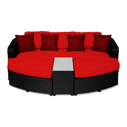 "Reef Rattan - Reef Rattan 4 Piece Day Bed Set - Black Rattan / Red Cushions - Reef Rattan 4 Piece Day Bed Set - Black Rattan / Red Cushions. This patio set is made from all-weather resin wicker and produced to fulfill your needs for high quality. The resin wicker in this patio set won't fade, shrink, lose its strength, or snap. UV resistant and water resistant, this patio set is durable and easy to maintain. A rust-free powder-coated aluminum frame provides strength to withstand years of use. Sunbrella fabrics on patio furniture lends you the sophistication of a five star hotel, right in your outdoor living space, featuring industry leading Sunbrella fabrics. Designed to reflect that ultra-chic look, and with superior resistance to the elements in a variety of climates, the series stands for comfort, class, and constancy. Recreating the poolside high end feel of an upmarket hotel for outdoor living in a residence or commercial space is easy with this patio furniture. After all, you want a set of patio furniture that's going to look great, and do so for the long-term. The canvas-like fabrics which are designed by Sunbrella utilize the latest synthetic fiber technology are engineered to resist stains and UV fading. This is patio furniture that is made to endure, along with the classic look they represent. When you're creating a comfortable and stylish outdoor room, you're looking for the best quality at a price that makes sense. Resin wicker looks like natural wicker but is made of synthetic polyethylene fiber. Resin wicker is durable & easy to maintain and resistant against the elements. UV Resistant Wicker. Welded aluminum frame is nearly in-destructible and rust free. Stain resistant sunbrella cushions are double-stitched for strength and are fully machine washable. Removable covers made with commercial grade zippers. Tables include tempered glass top. 5 year warranty on this product. Bench: W 85"" D 33"" H 25"", Ottoman (2): W 35.5"" D 33"" H 16"", Coffee Table: W 14"" D 33"" H 18"""